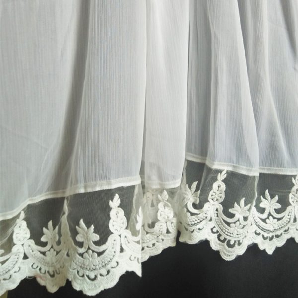 ZD56-2 White Chiffon Dupatta With Lace On Bottoms