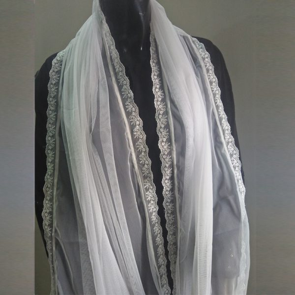ZD61-1 White Net Dupatta With Lace On 4 Sides