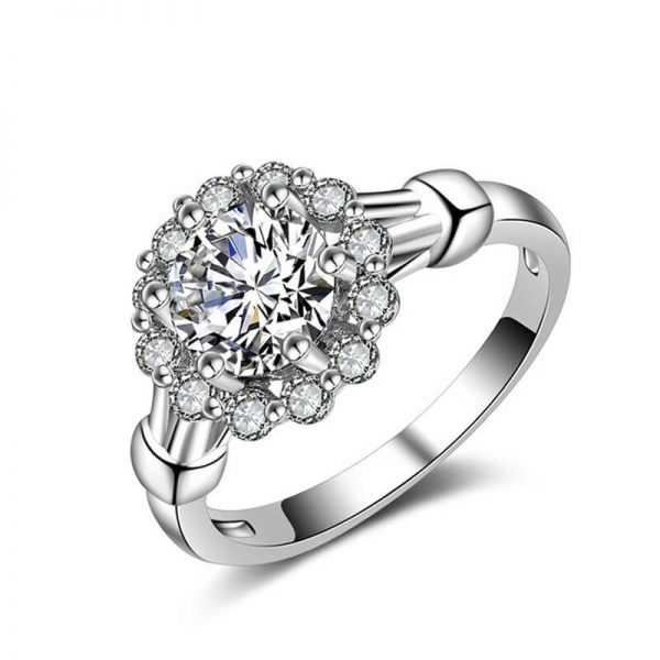 1 AAA Zircon Floral Silver Ring AR28