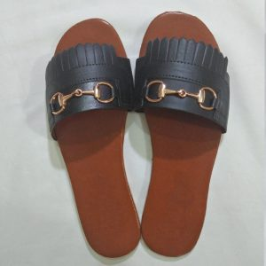 Black Slipper With Gold Metal Work