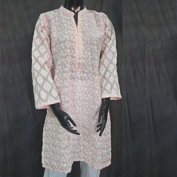 1 Pink Full Embossed From Both Sides Cotton Silk Top ZK11