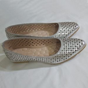 Silver Pumps Leather - Non Slip Sole
