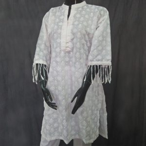 White Full Embossed From Both Sides Cotton Silk Top