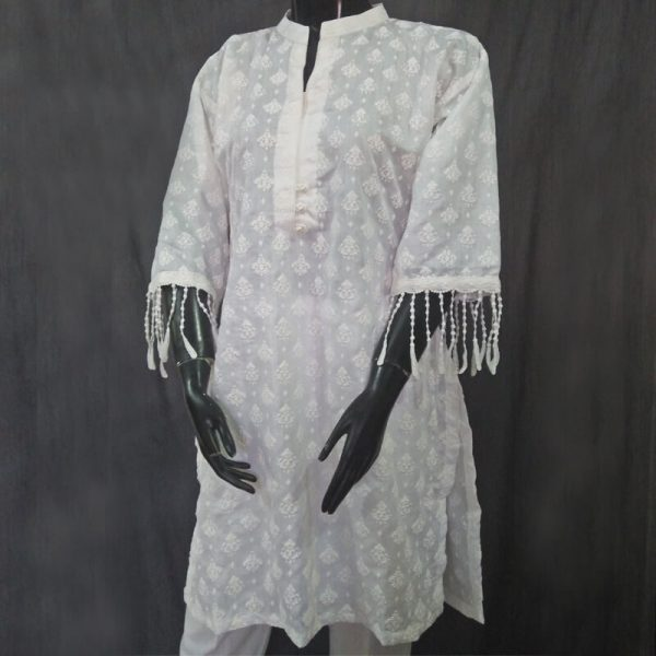 1 White Full Embossed From Both Sides Cotton Silk Top ZK10