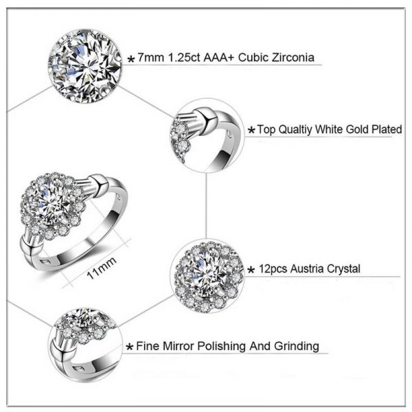 2 AAA Zircon Floral Silver Ring AR28