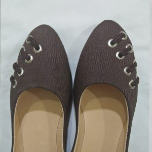 Denim Brown Pumps With Silver Metal Work