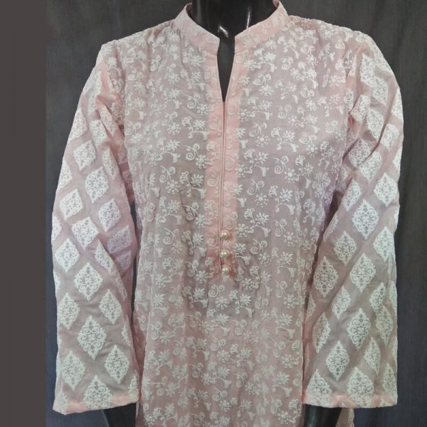 2 Pink Full Embossed From Both Sides Cotton Silk Top ZK11