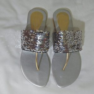Sequin 2 Tone Silver Gold Slipper