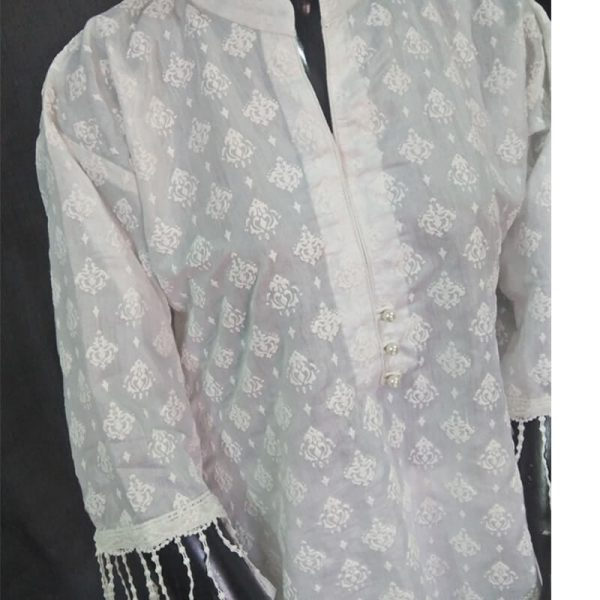 2 White Full Embossed From Both Sides Cotton Silk Top ZK10
