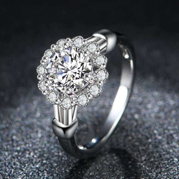 3 AAA Zircon Floral Silver Ring AR28