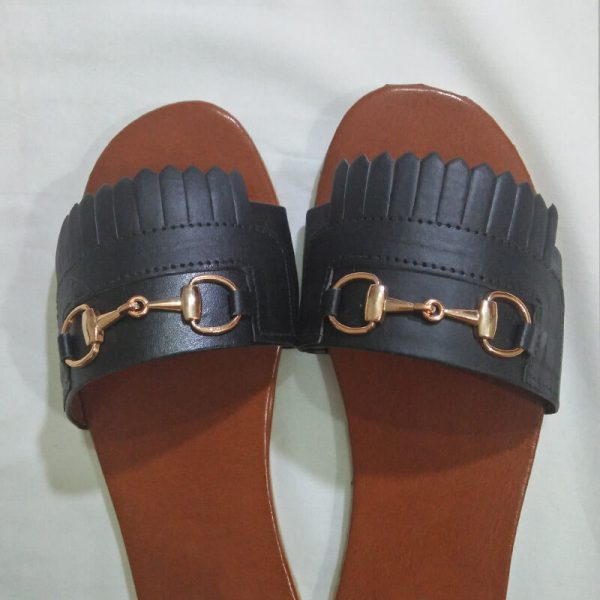 3 Black Slipper With Gold Metal Work ZS05