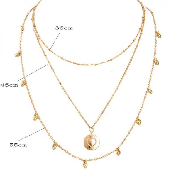 3 Layer Gold Necklace – Heart And Beads Design –