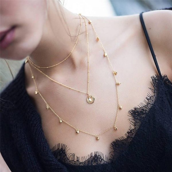 3 Layer Gold Necklace – Heart And Beads Design