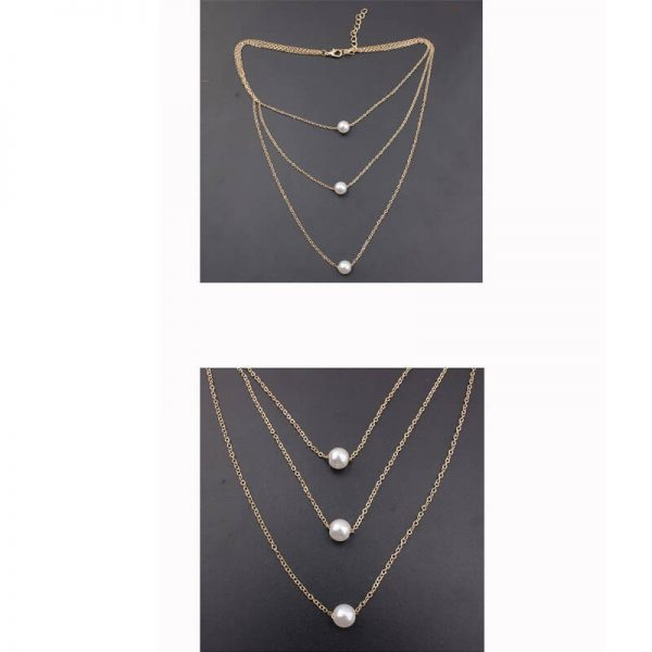3 Layer Gold Necklace With Pearls AN98 –