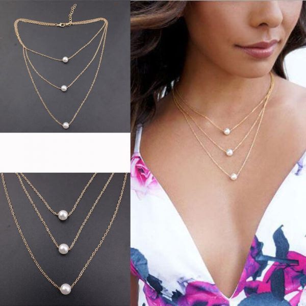 3 Layer Gold Necklace With Pearls AN98 —