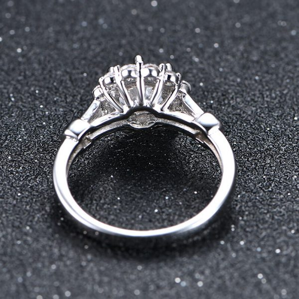 4 AAA Zircon Floral Silver Ring AR28