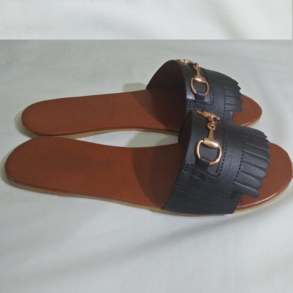 4 Black Slipper With Gold Metal Work ZS05