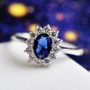 AAA Zircon Silver Ring With Blue Stone