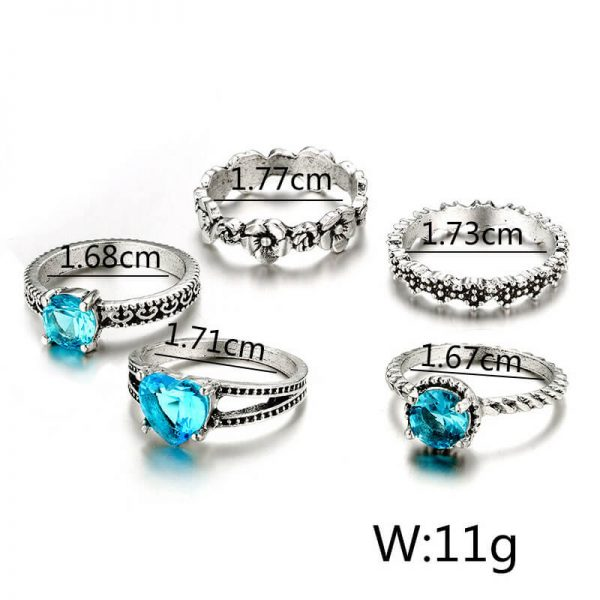 5 PC Ring Set Silver With Blue Stone AR26-