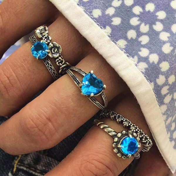 5 PC Ring Set Silver With Blue Stone AR26—