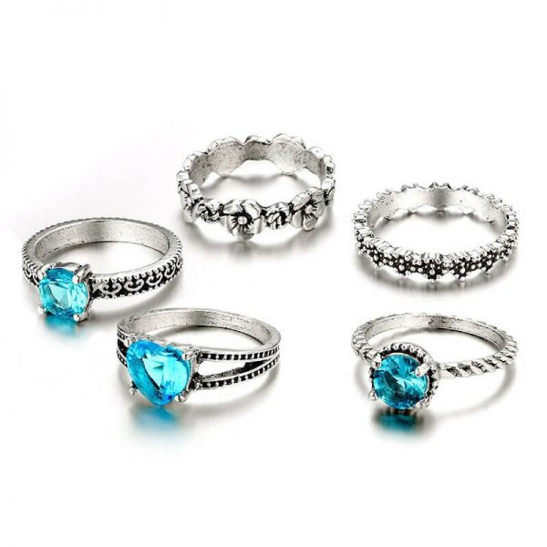 5 PC Ring Set Silver With Blue Stone AR26-1