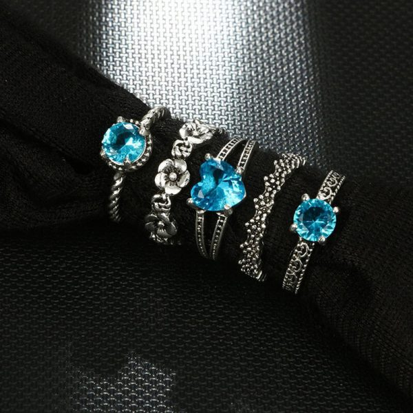 5 PC Ring Set Silver With Blue Stone AR26