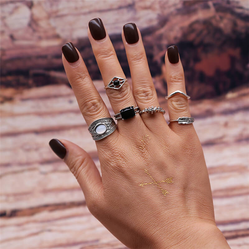 6 PC ring set for women silver