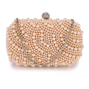 Champagne Beaded Pearl Rhinestone Clutch Bag