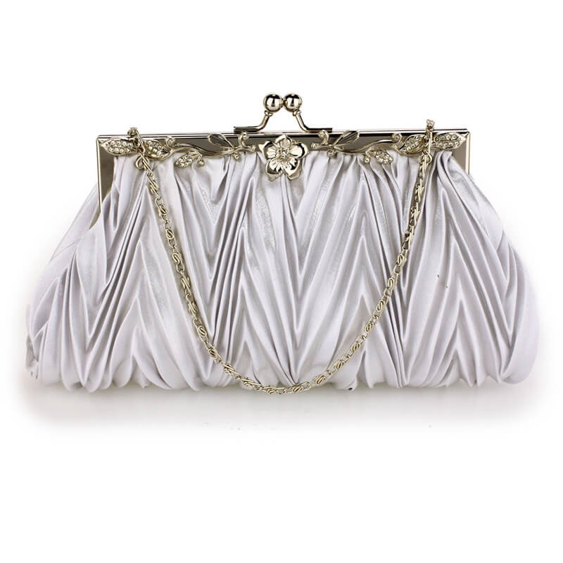 Silver Crystal Evening Clutch Bag