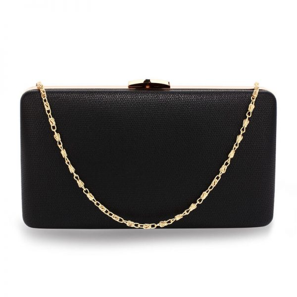 AGC00351 – Black Evening Clutch Bag With Gold Metal Work_1_