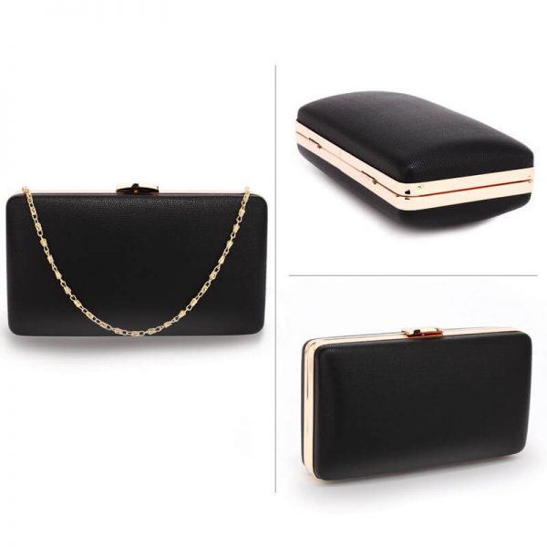 AGC00351 – Black Evening Clutch Bag With Gold Metal Work_3_