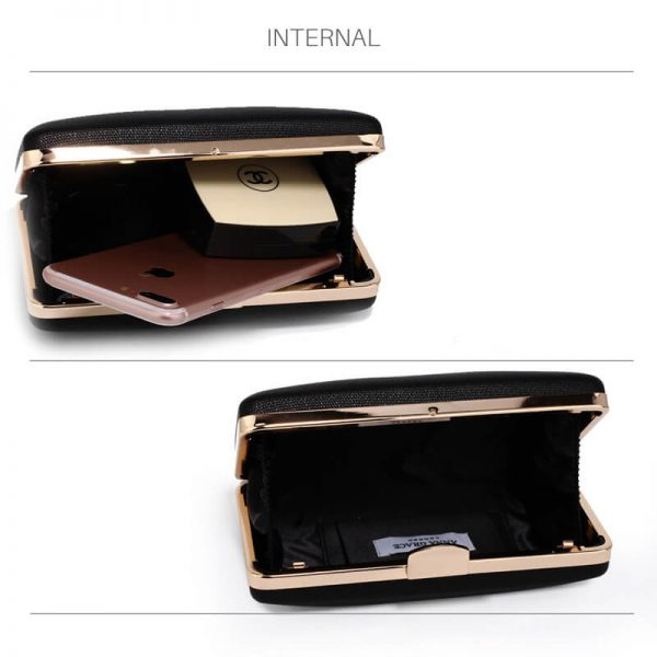 AGC00351 – Black Evening Clutch Bag With Gold Metal Work_4_