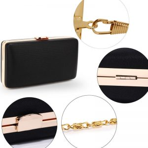 Black Evening Clutch Bag With Gold Metal Work