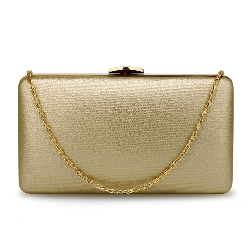 Gold Evening Clutch Bag With Gold Metal Work