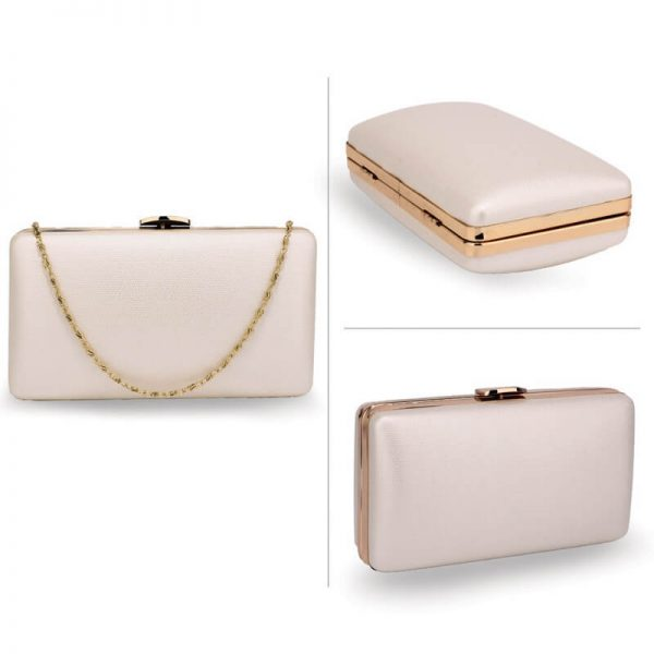 AGC00351 – Ivory Evening Clutch Bag With Gold Metal Work_3_