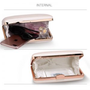 Ivory Evening Clutch Bag With Gold Metal Work