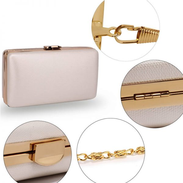 AGC00351 – Ivory Evening Clutch Bag With Gold Metal Work_5_