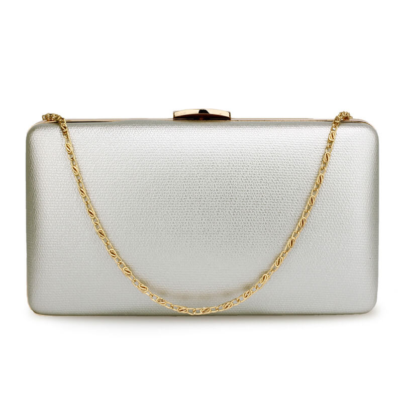 Silver Evening Clutch Bag With Gold Metal Work