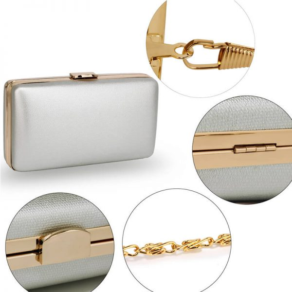 AGC00351 – Silver Evening Clutch Bag With Gold Metal Work_5_