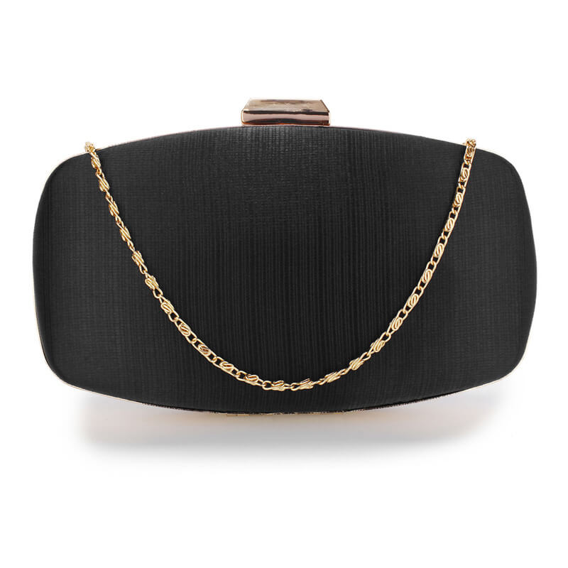 Black Satin Evening Clutch Bag