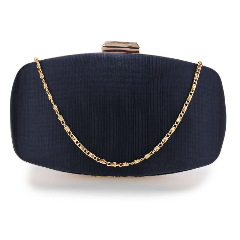 Navy Satin Evening Clutch Bag