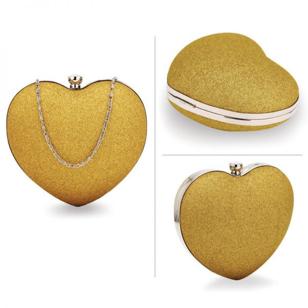 AGC00357 – Gold Glitter Hardcase Heart Clutch Bag_3_