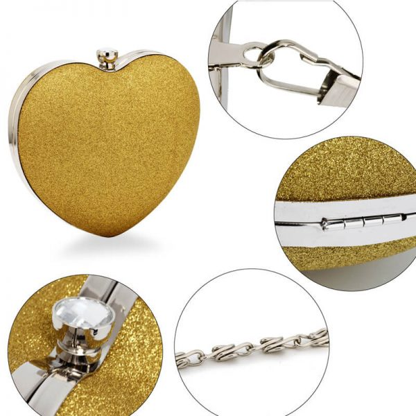 AGC00357 – Gold Glitter Hardcase Heart Clutch Bag_5_