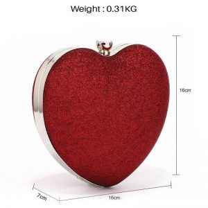 Red Glitter Hardcase Heart Clutch Bag