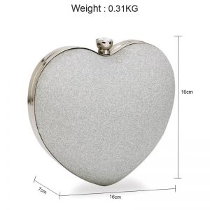 Silver Glitter Hardcase Heart Clutch Bag