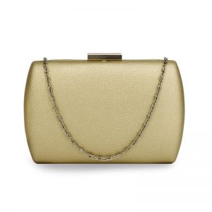 Gold Hard Case Evening Clutch Bag