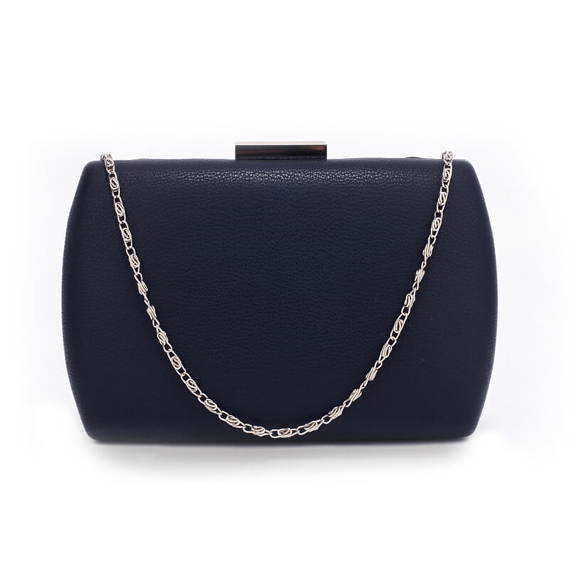 Navy Hard Case Evening Clutch Bag