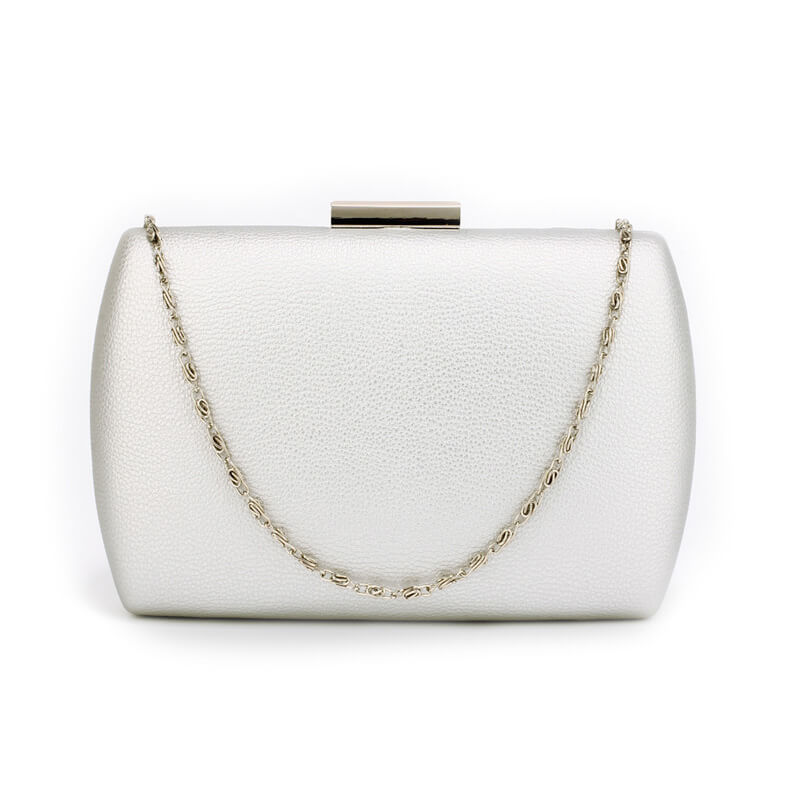 Silver Hard Case Evening Clutch Bag