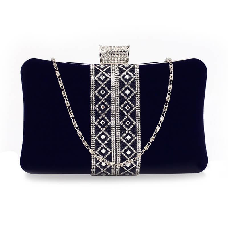 Navy Sparkly Crystal Evening Clutch Purse