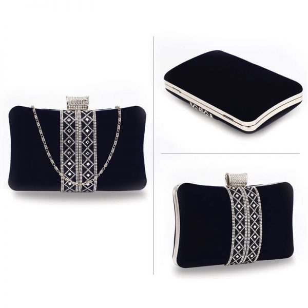 AGC00359 – Navy Sparkly Crystal Evening Clutch Purse_3_